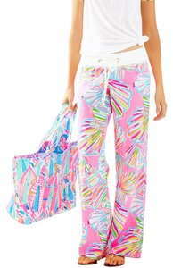 Lilly Pulitzer Relaxed Pants Pink, aqua blue, lime yellow & white
