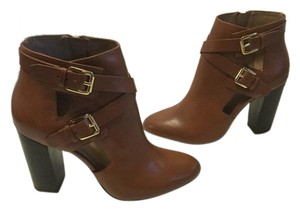 Atwell Lining Stacked Wood Heels Full Zippers NEW brown leather straps buckles ankle Boots