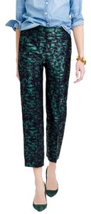 J.Crew Evening Brocade Cropped Dressy Trousers Straight Pants green