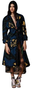 Burberry Rare Floral Silk Prorsum Runway Trench Coat