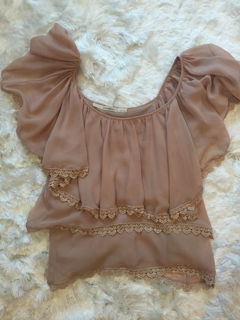 Gibson Nordstrom Tiered Lace Sheer Top Blush