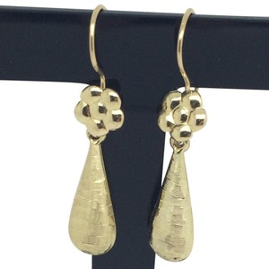 14K Yellow Gold Pear shape Drop Earrings