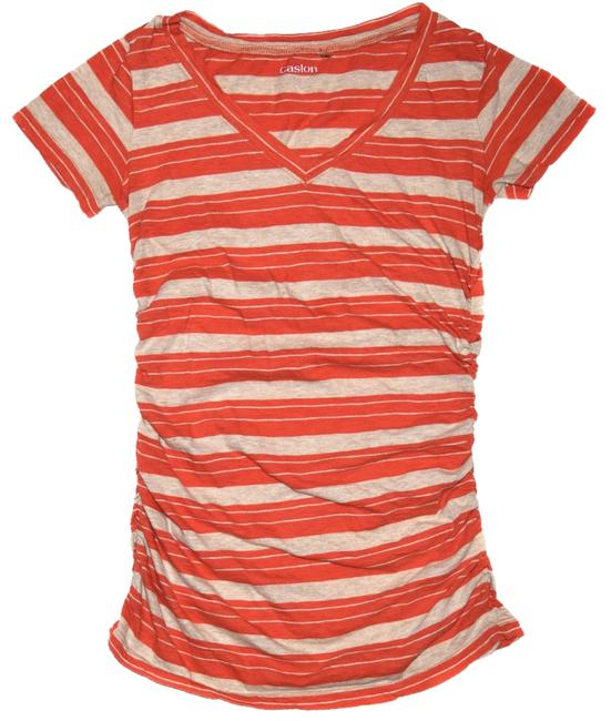 Caslon T- V Neck Sleeves Ruched T Shirt Orange and Beige Stripes