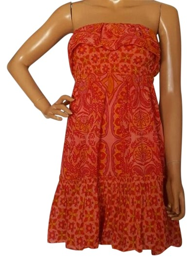 Fire Orange Xs Strapless Chic Printed Dress hot sale 2017