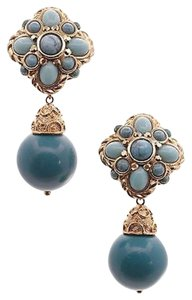 Jose & Maria Barrera Barrera Gold-tone Turquoise Drop Clip-on Earrings