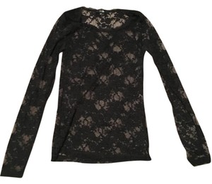 Forever 21 Floral See Through Top Black
