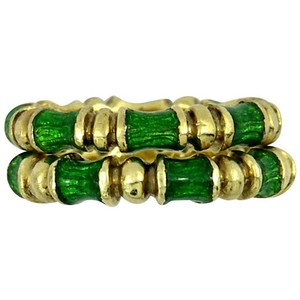 Other Matched Pair Martine Green Enameled Gold Band Rings