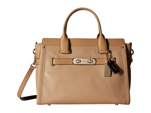Coach Swagger Leather Crossbody Tote in Nude