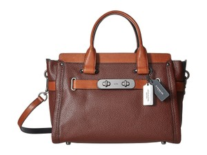 Coach Swagger Leather Crossbody Tote in Ginger Brown