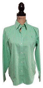 Lauren Ralph Lauren Non-iron Button Down Shirt Green/White plaid check