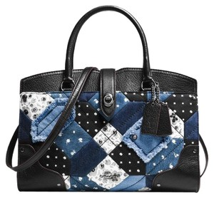 Coach Satchel in Black/Blue