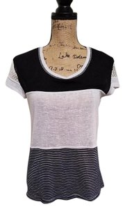 Sanctuary Clothing Bold Stripe Lace T Shirt Black/White