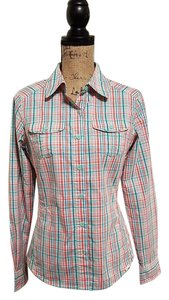 The North Face Button Down Shirt Plaid/Orange/Teal/White