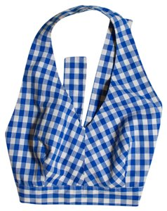 Vintage Blue and White Checkboard Halter Top