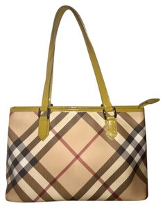 Burberry Tote in Nova Check With patent Green Trim