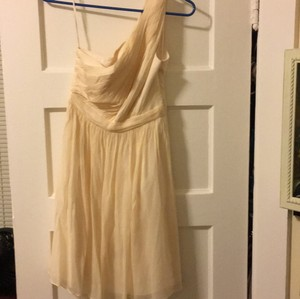 J.Crew Cream Chiffon Feminine Bridesmaid/Mob Dress Size 0 (XS)
