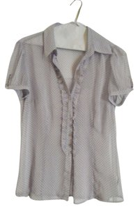 The Limited Button Down Shirt Light Purple with dark purple polka dots