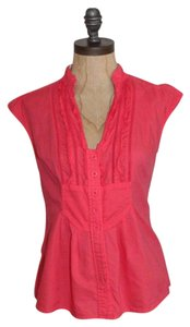 Anthropologie Edme & Esyllte Ruffle Size 2 Cotton Top CORAL