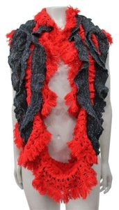Betsey Johnson Betsey Johnson Ruffled Infinity Scarf Red Black Sparkle One
