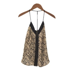 Silence + Noise Silk Strappy Sleeveless Top BLACK/ CREME