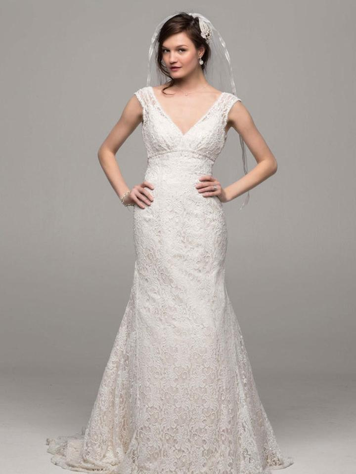 David 39 s bridal lace sequin gown wedding dress on sale 53 for David bridal wedding dresses on sale