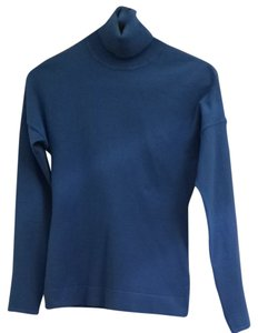 Karen Millen Blue Royal Turtleneck Designer Knit Shirt Blouse Sweatshirt Bright Sweater