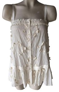 Moulinette Soeurs Anthropologie Blouse Applique Top White