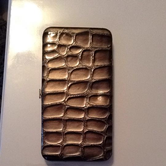 Urban Outfitters Silver Snakeskin Texture Snap Wallet