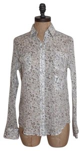 Anthropologie Gauze Floral Button Down Shirt MULTI COLOR