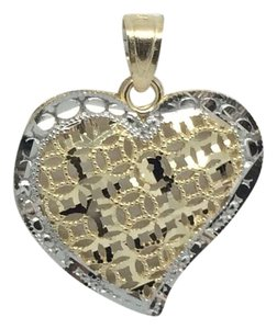 Other 14K Two-Tone Diamond Cut Heart Pendant