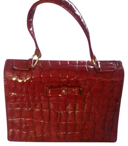 Liz Claiborne Compact Bow Handle Cute Gold Hardware Tote in Red