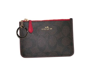 Coach Coach Signature Brown Red Key Coin Pouch Wallet Case 63923
