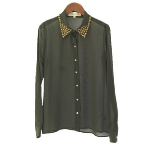 Vintage Havana Studded Hardware Longsleeve Polyester Night Out Top OLIVE GREEN/ GOLD