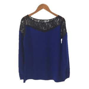 Karina Grimaldi Lace Color-blocking Longsleeve Silk Top BLUE/ BLACK