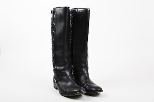 Dior Christian Quilted Leather Riding Black Boots