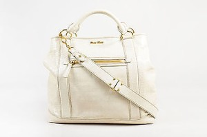 Miu Miu Crocodile Embossed Patent Leather Oversized With Strap Tote in Beige