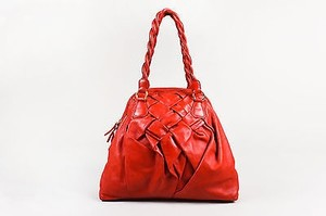 Valentino Leather Woven Tote in Red