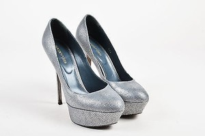 Sergio Rossi Embossed Silver Pumps