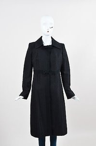 Valentino Roma Wool Blend Long Diamond Jacquard Coat