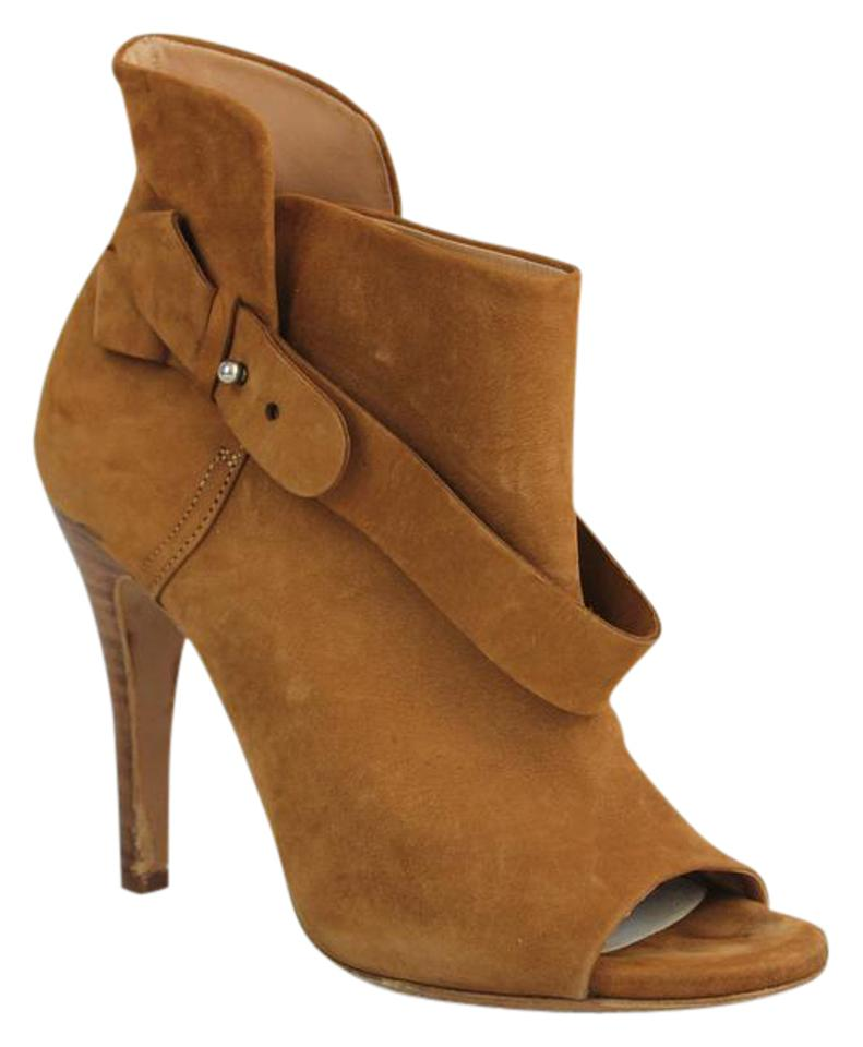 Maison Margiela Brown Toe Suede Peep Toe Brown Heeled Boots/Booties 0e8c18