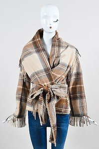 Alexander McQueen Runway Brown Tan Plaid Fringe Hem Shawl Ls Multi-Color Jacket