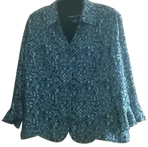 Norton McNaughton Sheer Long Sleeve Petite Top Blue