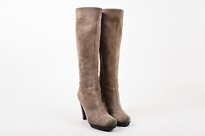 Gianvito Rossi Taupe Suede Heeled Tall Brown Boots