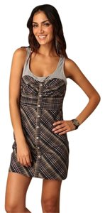 Free People short dress MULTI COLOR Fall Picnic Plaid Sheath on Tradesy