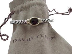 David Yurman Noblesse Collection - 5mm Garnet SS/14k Cuff, Medium