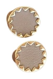 House of Harlow 1960 House of Harlow 1960 Sunburst Button Earrings with Khaki Leather