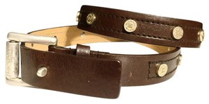 MICHAEL Michael Kors Michael Kors Studded Vintage Brown Leather Belt
