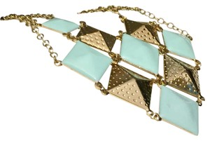 Anthropologie Gold And Teal Statement Bib Collar Necklace