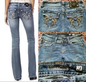Miss Me Angel Wings Boot Cut Jeans-Light Wash