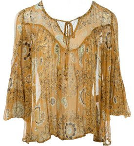 Bel Paisley Tie Front Top Yellow